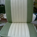 Camper Seat in Green and  White Vinyl