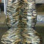 Camper Seat in Tiger Print and Dark Brown Vinyl