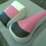 Cycle Seat and Back Rest in White Black and Pink Vinyl