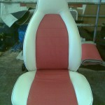 Porsche Seat in Cream and Red Vinyl