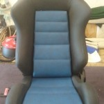 Recaro Seat in Blue and Black Textured Vinyl