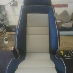 Recaro Seat in Dark Blue and Grey Perforated Leather