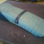 Scooter Seat in Dark and Pale Blue Vinyl
