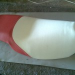 Scooter Seat in Red and White Vinyl